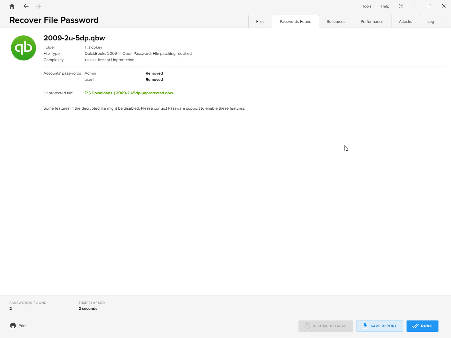 Recover lost passwords for QuickBooks